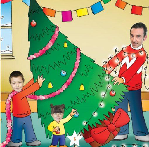 family round a xmas tree