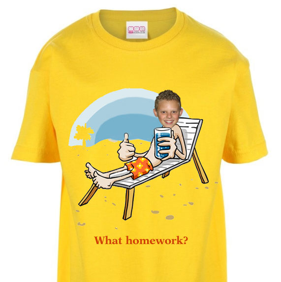 kids tshirt personalised photo beach chair seaside holiday
