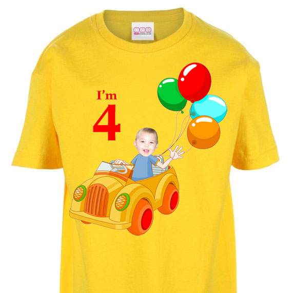 kids tshirt personalised photo gift clown car birthday boy