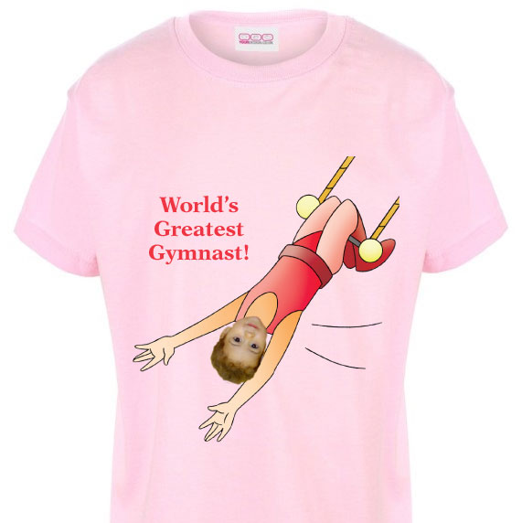 kids tshirt personalised photo gift gymnast trapezist