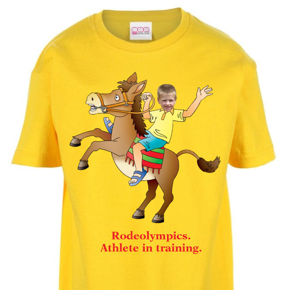 kids tshirt personalised photo gift horse riding rodeo