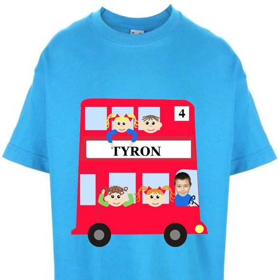 kids tshirt personalised photo gift red bus