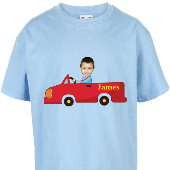 kids tshirt personalised photo gift red car boy