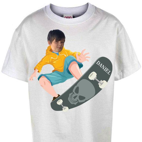 kids tshirt personalised photo gift skateboard white boy