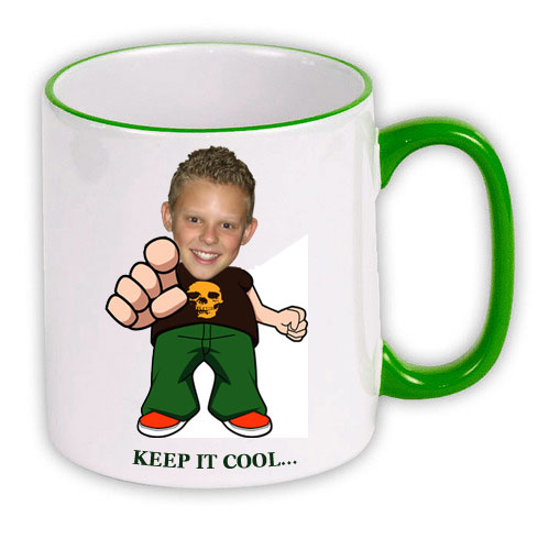 personalised Mug green keep cool boy photo gift