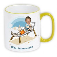 personalised Mug yellow beach holiday homework photo gift