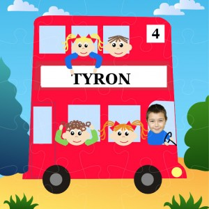personalised jigsaw red bus