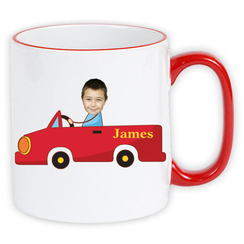 personalised mug red car photo gift