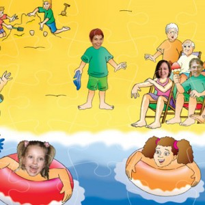 personalised wooden jigsaw - seaside family holiday