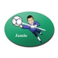 door plaque oval personalised photo gift football goalie