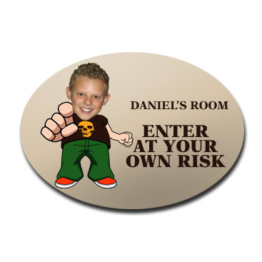 door plaque oval personalised photo gift cool dude