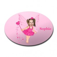 door plaque oval personalised photo gift pink fairy
