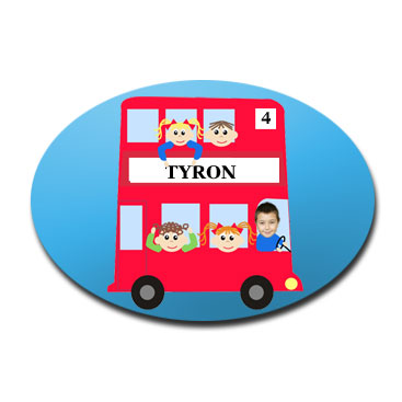 door plaque oval personalised photo gift red bus