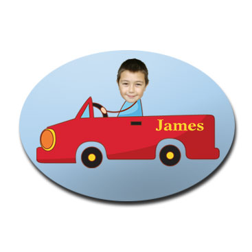 door plaque oval personalised photo gift red car