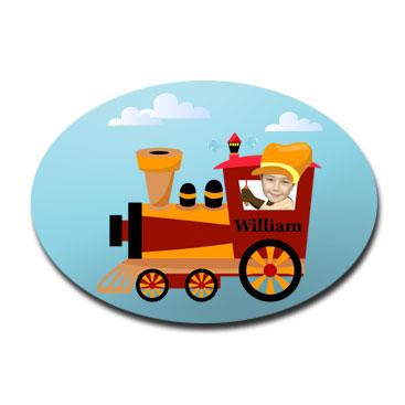 door plaque oval personalised photo gift train