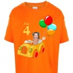 kids_tshirt_personalised photo gift clown car birthday girl orange