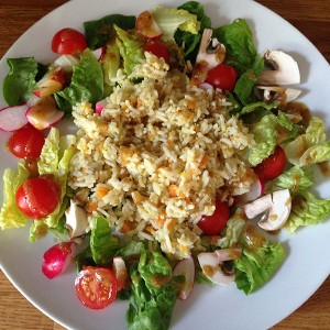 Left-over rice salad
