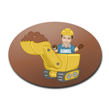 door plaque oval personalised photo gift digger