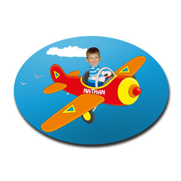door plaque oval personalised photo gift plane