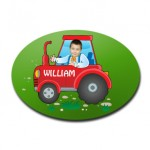 door plaque oval personalised photo gift tractor