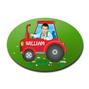 door plaque oval personalised photo gift tractor