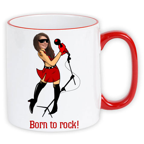 personalised mug born to rock photo gift