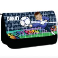personalised pencil case football goalie