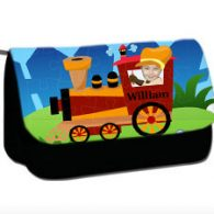 personalised pencil case train