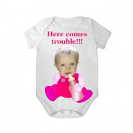 short sleeves babygrow white bottle here comes trouble girl