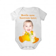 short sleeves babygrow white bottle now tantrum later unisex