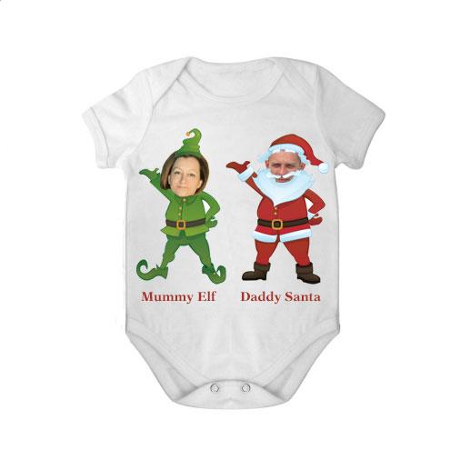 short sleeves babygrow white mummy elf daddy santa unisex