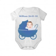 short sleeves baby bodysuit white pram boy