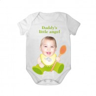 short sleeves baby bodysuit white spoon daddy angel boy