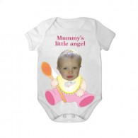short sleeves baby bodysuit white spoon mummy angel girl
