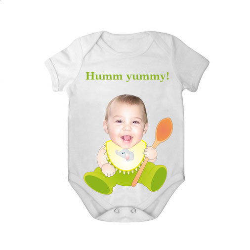 short sleeves baby bodysuit white spoon yummy boy