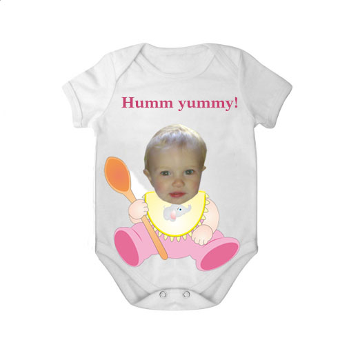 short sleeves baby bodysuit white spoon yummy girl