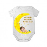 short sleeves baby bodysuit white tar twinkle twinkle boy