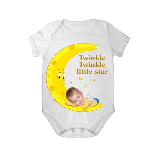 short sleeves baby bodysuit white tar twinkle twinkle boy