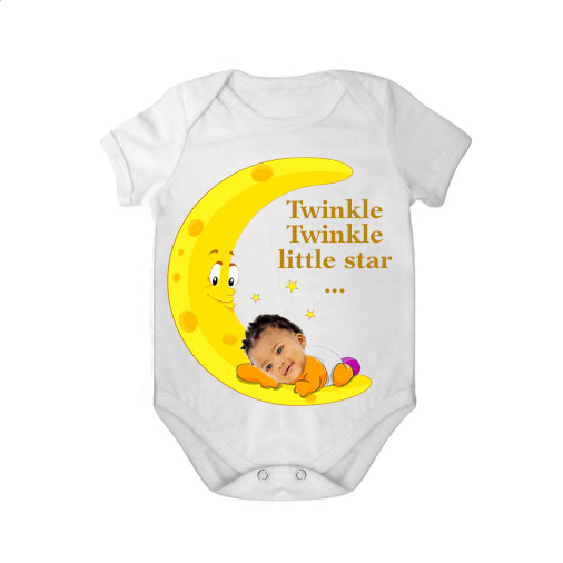 short sleeves baby bodysuit white tar twinkle twinkle girl