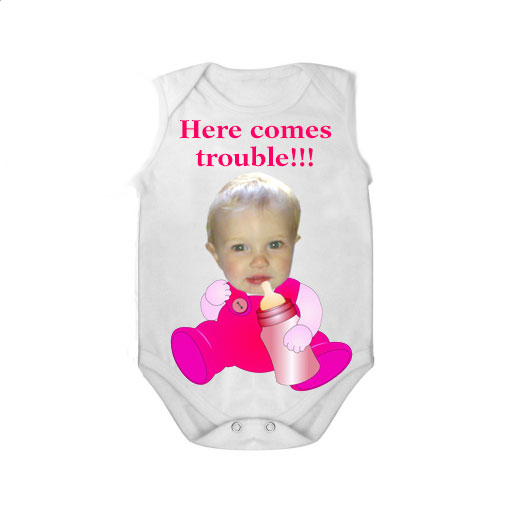 sleeveless babygrow white bottle here comes trouble girl