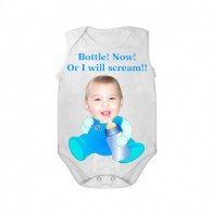 sleeveless babygrow white bottle now or i will scream boy