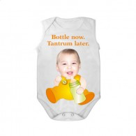 sleeveless babygrow white bottle now tantrum later unisex