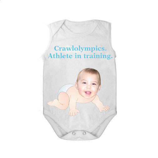 sleeveless babygrow white crawlolympic boy