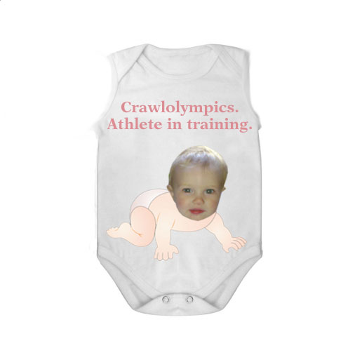 sleeveless babygrow white crawlolympic girl