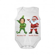 sleeveless baby bodysuit white mummy elf daddy santa unisex