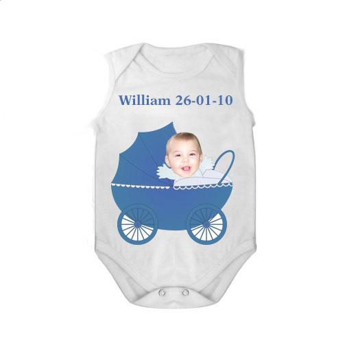 sleeveless baby bodysuit white pram boy