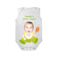 sleeveless baby bodysuit white spoon daddy angel boy