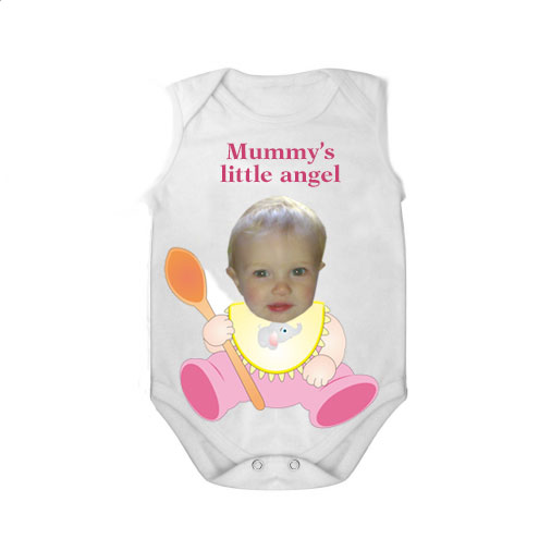 sleeveless baby bodysuit white spoon mummy angel girl