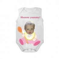 sleeveless baby bodysuit white spoon yummy girl