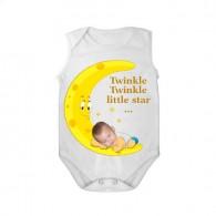 Sleeveless baby bodysuit white tar twinkle twinkle boy